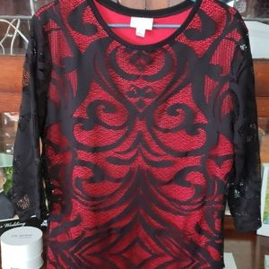 Red and Black dress top XL